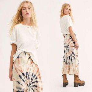 NWT Free People Velvet Tie Dye pastel midi skirt